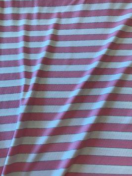 Viskose Jersey - Streifen rosa/weiß silber