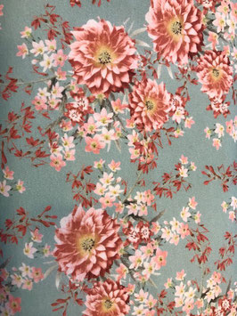 Jersey - mint mit großen Blumen