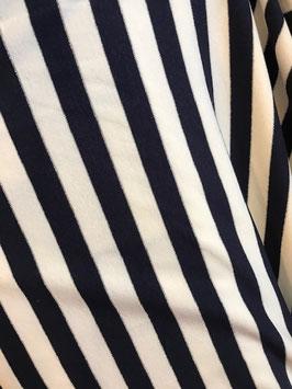Viskose Jersey - Streifen blau/weiß silber