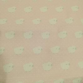 Tessuti baby - tela di cotone con pecorelle fondo rosa