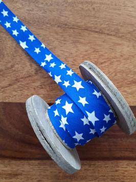 Schrägband Sterne kobaltblau/weiß