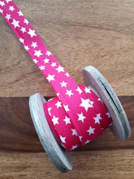 Schrägband Sterne pink/weiß