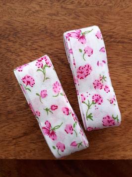 Schrägband - 3m am Stück - weiß mit rosa Blümchen