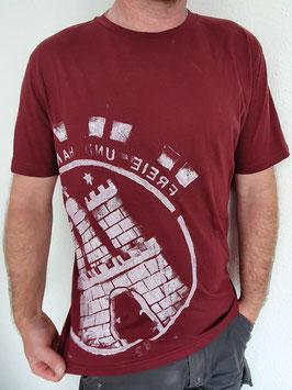 Herren T-Shirt Burgundy/Weiß