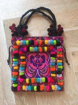 Pompon-Tasche °Birds° - Boho Style in vielen Farben