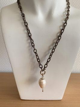 Long-Kette mit Süsswasserzucht-Perlen-Anhänger, weiss