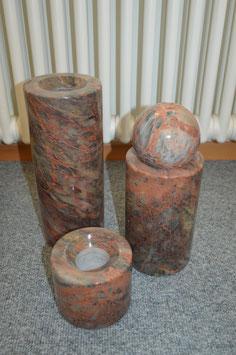 3er Set Marmor-Säule mit Marmorkugel