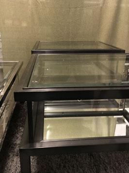 Glastisch mit Spiegel und bewegbarer Glasplatte