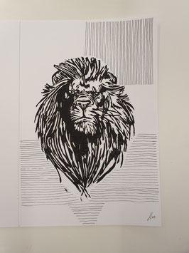 Löwe mit Linien
