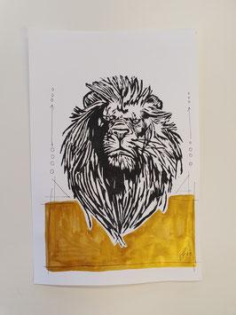 Löwe mit goldenen Boden