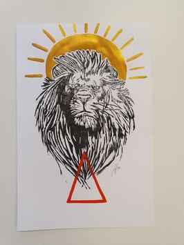 Löwe mit starker Sonne und Feuerzeichen