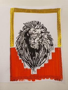Löwe unten rot mit Arabic Gold