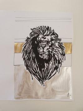 Löwe mit Silber und Perlengold