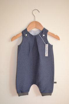 Sommer-Latzhose für Babys aus reinem Leinen in Marineblau