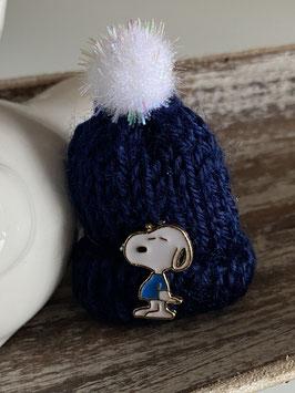 """Wintermützchen mit SnoopyApplikation  """" SNOO-PY blau 2 """""""