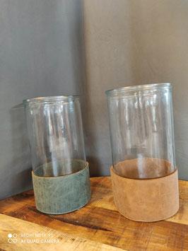 Vase/Windlicht mit Lederband