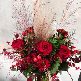 Trockenblumen/Frischblumen Mix Strauß rot