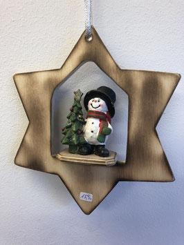 Schneemann mit Baum im Stern zum hängen