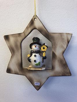 Schneemann mit Vogelhaus im Stern zum hängen