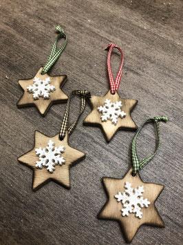 Stern mit Schneeflocke braun