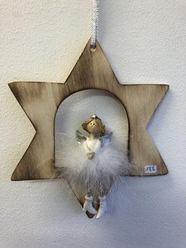 Engel mit Federnkleid im Stern
