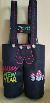 Lederhose schwarz - Prosit mit Happy New Year