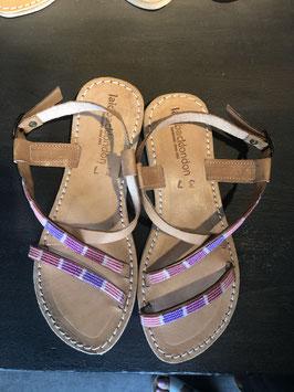 Azari Flat Leather Sandal Tribal Lila