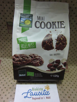 Bohlsener Mühle Bio Mini Cookie Schoko Haselnuss 125g