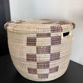 Großer Korb mit Deckel zweifärbig