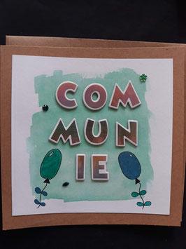 Communie groen met plakletters