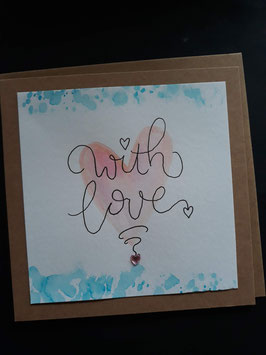 With love hart aquarel