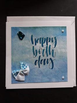 Happy Birthday blauw met strik