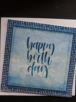 Happy Birthday blauw met diamond tape