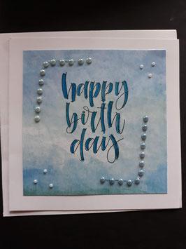 Happy Birthday blauw met plakparels