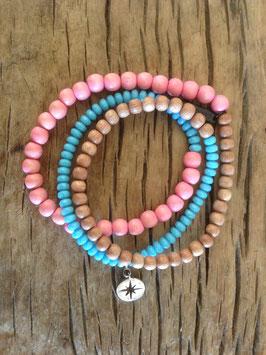 3er Bracelet türquise/rosa Stern