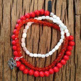 3er Bracelet rot-orange Schlange