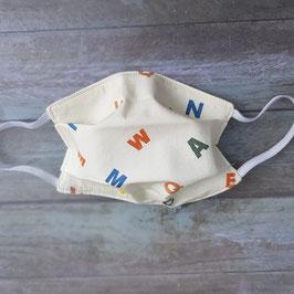Masque barrière pour enfant coton écru imprimé alphabet