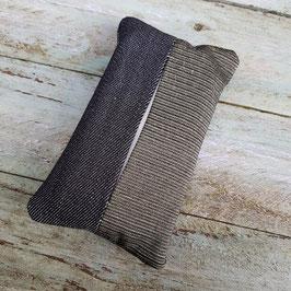 Pochette à mouchoir en tissu années 50 bronze et jean noir