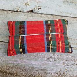 Pochette à mouchoir en tissu madras ancien rouge et vert