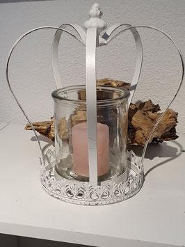 Krone Teelicht mit Glas