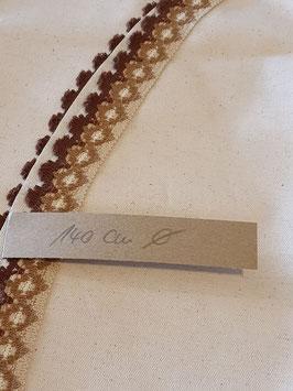 Einzelstück Tischdecke Baumwolle/ Leinenmix  beschichtet 140cm rund mit Borte