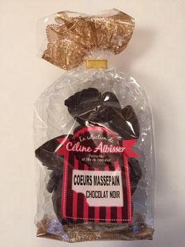 Coeurs en massepain et chocolat noir