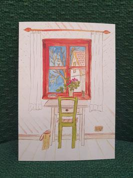 """Postkarte Menker """"Blick aus dem Fenster"""""""