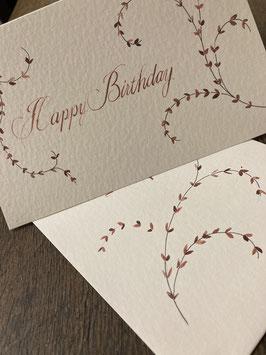 Happy Birthday, Englische Schreibschrift mit Blumenranken