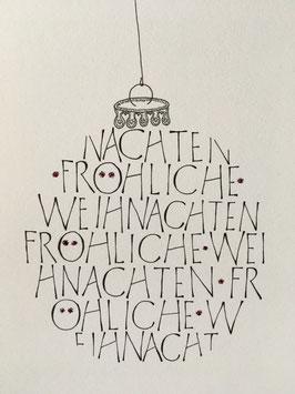 Falzkarte Fröhliche Weihnachten als Weihnachtskugel