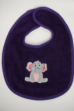 Lätzli mit Klettverschluss violett mit Elefant