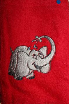 WASCHHANDSCHUH rot mit Elefant