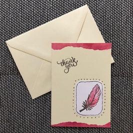 "Dankeskarte ""Feder pink"""