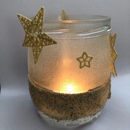 "Teelichtglas ""goldene Sterne"""
