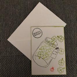 """Geburtstagskarte """"Glas voll Klee"""""""